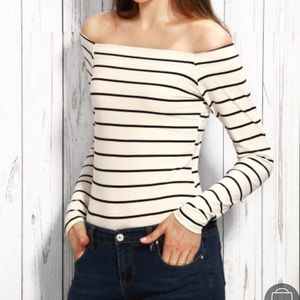 Tops - Off the Shoulder Striped LS Tee